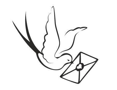 Botentaube mit Brief im Schnabel