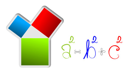 illustration of relations of the theorem of Pythagoras Stock Photo