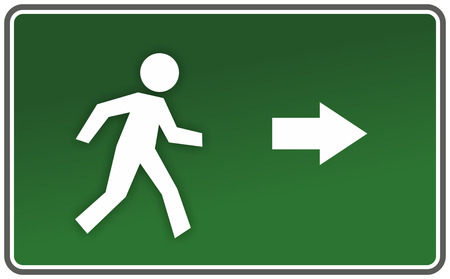 classic emergency sign with arrow and figure Standard-Bild