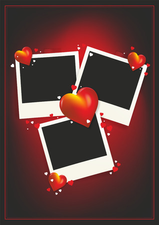A photo frame with hearts for three pictures