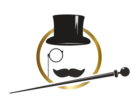 Abstract symbol with top hat, cylinder, monocle