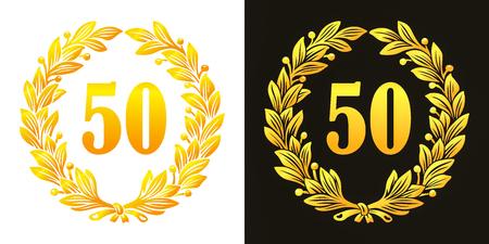 Golden laurel wreath with a 50 for anniversary Stock fotó