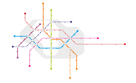 Abstract metro system map with stations and different lines 免版税图像