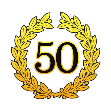 Goldener Lorbeerkranz für Jubiläen oder Geburtstage Standard-Bild