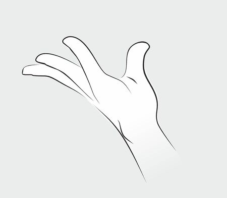 Hand gesture on grey
