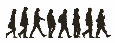 Abstract silhouette of different people walking by