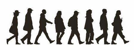 Silhouette abstraite de différentes personnes marchant par