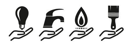 set with crafts symbols as a template 版權商用圖片