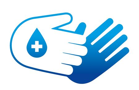 A sign for hand disinfection and hygiene