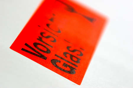 glas: Vorsicht Glas label