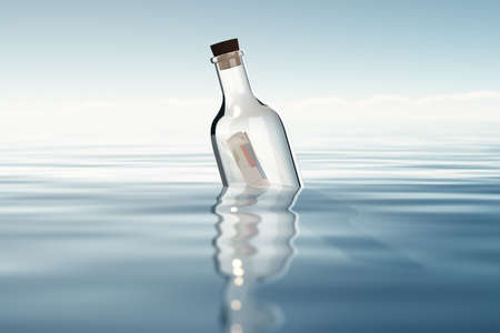 Bottle with financial statements photo