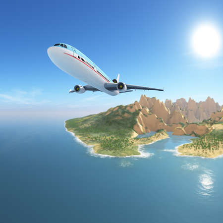 Airplane to tropical beach summer vacation destination photo