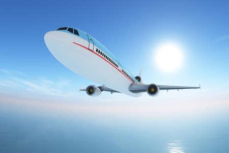 Airplane over sea Stock Photo