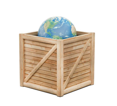 Earth in wooden crate - isolated Stock Photo - 19372286