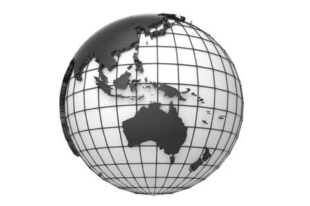 Globe with extruded map of australia and asia