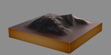 Mountain Topographic Model - isolated Stock Photo