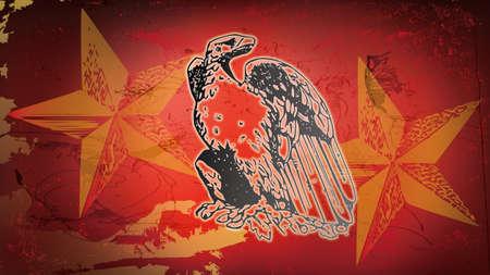 図赤白頭鷲と星 写真素材