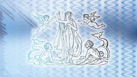 青図金星と海王星 写真素材
