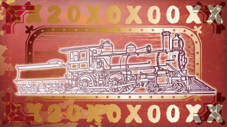 図の赤と金の機関車 写真素材