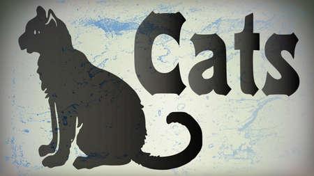 黒猫の横に文字