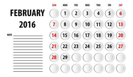 weekly planner: Template of calendar for 2016