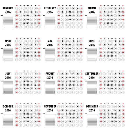 almanac: Template of calendar for 2016