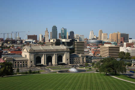 Kansas City Skyline and Union Station Stock Photo