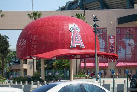 ballpark: Anaheim, California - April 26, 2007:  Giant baseball cap at classic Los Angeles Angel Stadium Of Anaheim.