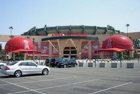 Anaheim, California - April 26, 2007: Angels fans pass under giant baseball cap at classic Los Angeles Angel Stadium Of Anaheim.