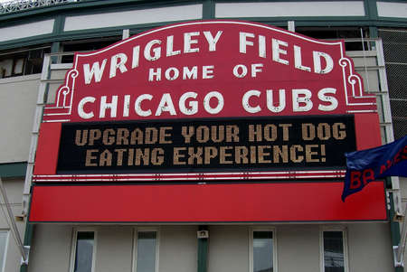 Chicago, Illinois - May 27,2006: The famous Wrigley Field welcome sign at the home of the Cubs