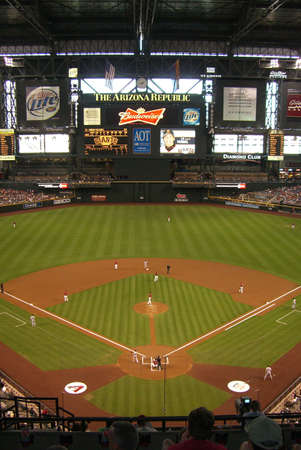 Phoenix, Arizona  - April 29, 2007: Arizona Diamondbacks Chase Field under a closed domed stadium