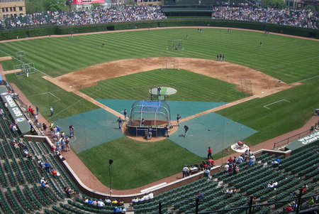 Chicago, Illinois - May 27,2006: The Cubs take batting practice at Wrigley Field
