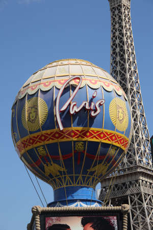 Las Vegas, Nevada - September 18,2008: Paris Hotel on the Strip, featuring globe and Eiffel Tower