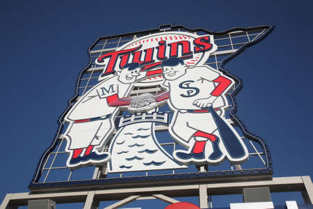 Minneapolis, April 21, 2010: Famous Twins sign at the brand new ballpark in Minnesota. Outdoor baseball returns to the twin cities.