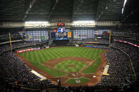 Milwaukee, Wisconsin - April 24, 2010: Brewers baseball players play a game against the Chicago Cubs under a closed dome at Miller Park