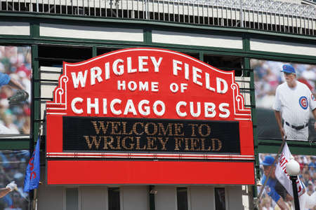 Chicago, Illinois - April 26, 2010:  A new look for historic Wrigley Field and the famous welcome sign of the Chicago Cubs Stock Photo - 7076745