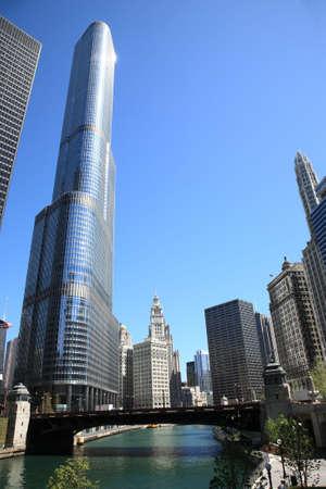 Skyline van Chicago en rivier