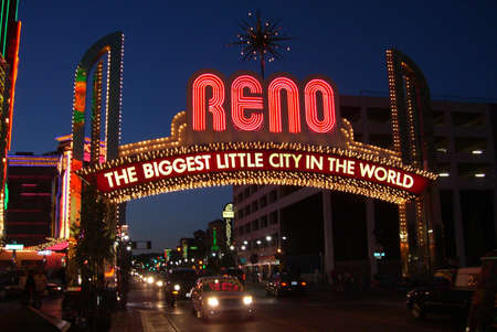 nevada: Reno, Nevada - September 20, 2008: Vintage Virginia Street welcome in Nevada gaming city with bright neon at night Editorial