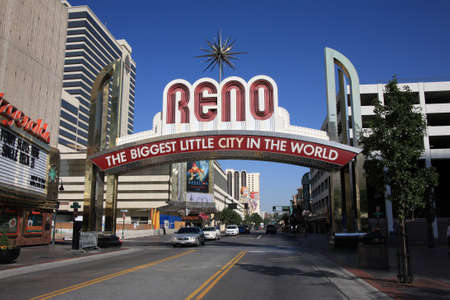 Reno, Nevada - September 22, 2008: Vintage Virginia Street welcome in Nevada gaming city on a sunny day