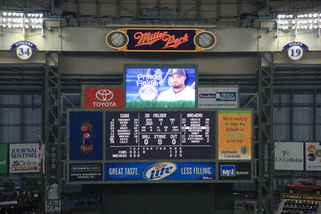 brewers: Milwaukee, Wisconsin - April 24, 2010: Milwaukee Brewers player Prince Fielder displayed on the scoreboard during a game against the Chicago Cubs, under a closed dome