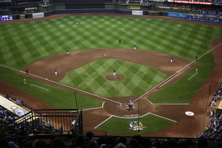 Milwaukee, Wisconsin - April 24, 2010: The National Leagues Brewers battle the Chicago Cubs under a closed dome