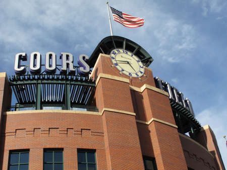 Denver, Colorado - September 30, 2009: Coors Field clocktower rises over the  entrance gates at the downtown home of the Colorado Rockies