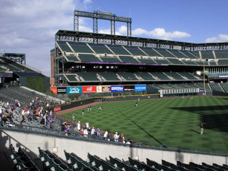 Denver, Colorado - September 30, 2009: Early arriving fans at Coors Field, downtown home of the Colorado Rockies