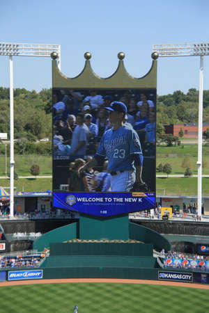 Kansas City, Missouri - September 27, 2009: Cy Young winner Zack Greinke on the scoreboard at Kauffman Field, home of the Kansas City Royals Stock Photo - 7086503