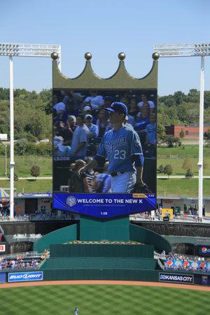 Kansas City, Missouri - September 27, 2009: Cy Young winner Zack Greinke on the scoreboard at Kauffman Field, home of the Kansas City Royals Stock Photo - 7086503