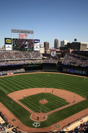 Minneapolis, 22 April 2010: Doelveld, gloednieuwe ballpark van de Minnesota Twins terug buiten honkbal naar de twin cities