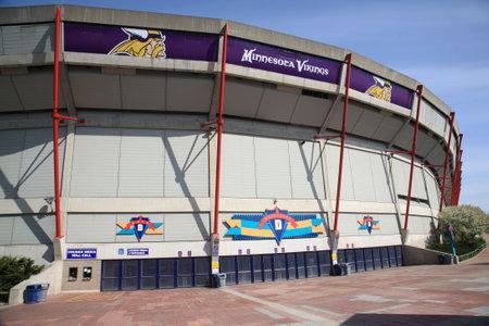 vikings: Minneapolis, April 21, 2010: Mall of America Field at Hubert H. Humphrey Metrodome, home field of NFL Minnesota Vikings