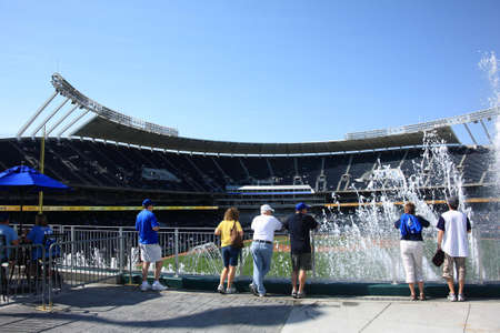 royals: Kansas City, Missouri - September 27, 2009: Early arriving fans enjoy the fountains at Kauffman Stadium, home of the Kansas City Royals