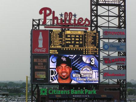 Philadelphia, Pennsylvania - May 27, 2008: Citizen Bank Scoreboard during a game against the Colorado Rockies