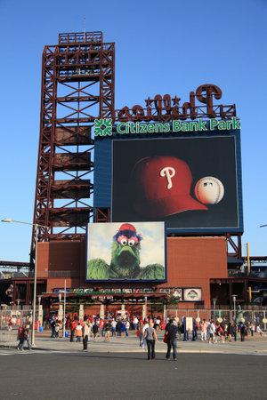 ballpark: Filadelfia - el 1 de septiembre de 2009: Citizens Bank Park, el estadio de ladrillo envejecido concretas y antiguo Phillies